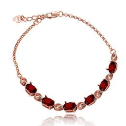 Silver Stone Bracelets For Girls NZ - Almei Rose Gold Red Garnet Stone Bracelet , Women 925 Sterling Silver Bracelet, Red Stone Bracelet For Girls Women Fb054 Y19052301