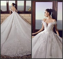 $enCountryForm.capitalKeyWord Australia - 2019 New Tony Chaaya Backless Wedding Dresses Off Shoulder Plunging Neck Lace Appliques A-Line Chapel Train Tulle Pleated Bridal Gowns