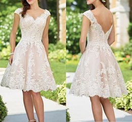 d4a1428c586 Knee length wedding dress real image online shopping - Vintage Lace Short  Wedding Dresses with Cap