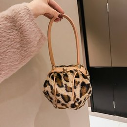 Discount leopard hobo tote handbag - Fashion Leopard Small Round Women Handbags Brand Design Plush Ladies Tote Dinner Party Lock Hasp Bag Purse High Quality
