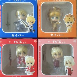 saber figures NZ - 4pcs set Fate Stay Night Saber Maid Action Figures PVC Collection Figures toys for christmas gift free shipping