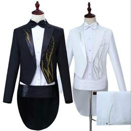 $enCountryForm.capitalKeyWord Australia - Men's performance dress hot seaweed color diamond tuxedo black white magician vocal singer command uniform gift set