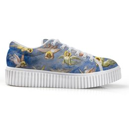 Ladies Canvas Shoes Australia - New Canvas Women's Low Top Platform Shoes Female's Wedges 3D Art Painting Print Lady's height increase Flats Shoe For Lady Girl