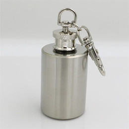 mini bottle keychain 2019 - 1oz Stainless Steel Cylinder Shape Hip Flask with Keychain Portable Party Outdoor Wine Bottle Mini Pocket Flasks cheap m