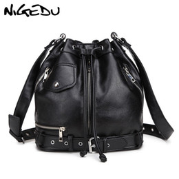 $enCountryForm.capitalKeyWord Australia - NIGEDU Rock Style Women Shoulder Bag Punk rivet messenger bags PU Leather Handbags female Designer Motorcycle Bucket Totes black #227717