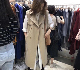 MediuM long vest online shopping - Women Autumn Vest Coat Lady Wear Long Waistcoat Notch Collar Double Breasted Sleeveless Solid Color Vest Jacket Plus Size