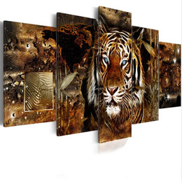 Pictures Oil African Australia - Hot Sell( No Frame )5 Pieces Canvas Print Modern Fashion Wall Art the African Animals Tiger for Home Decoration Choose Color:3 & Size:2