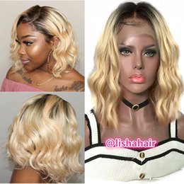 blonde bob wig dark roots Australia - Dark roots blonde 1b 613 wavy Bob Lace Front Wigs Blonde Full Lace Wig For Black Women