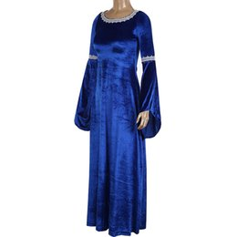 renaissance costumes for women Australia - Adult women Medieval Horror Evil Priestess Pagan Witch Costume Long Blue Gown Robe Red Maxi Trained Dress Velvet Outfit For ladies