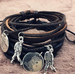 $enCountryForm.capitalKeyWord NZ - Multi Layer Male Leather Bracelets Zombie Crisis Black Brown Braided Rope Wrist Band Punk Gothic Bracelet Bangles Adjustable Men Jewelry
