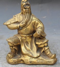 Book Money Australia - NEW SCY 14CM Chinese Bronze Guan Gong Guan Yu Warrior God Soldier Hold Book Statue Medicine copper Decoration real Brass 6.6
