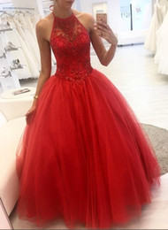 $enCountryForm.capitalKeyWord Australia - Red Ball Gown Prom Dress 2019 Evening Gowns Sheer Neck Tulle Crystal Bling Beaded Ruched Hollow Back Quinceanera Party Dress Cheap Plus size