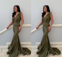 6f5b8161e Vestidos largos fiesta online shopping - 2019 New Arrival Deep V Neck Sexy  Olive Mermaid Prom