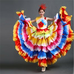 Wholesale swing dancing for sale - Group buy Performance Clothing Ladies New Fluffy Flowers Flourishing Flower Petal Skirt Opening Dance Skirt Big Swing Stage Costume