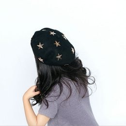 fallen hats Australia - Children Wool Beret Cap Kids Girls Hat Cute Cartoon Five-pointed Star Hat The Baby Hat Fall Winter hats