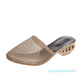 gold bling sandals Australia - 2020 Sexy Rhinestone Ladies Mules Women Bling Sandals Hollow Out Heels Black Women's Mesh Sandals Gold Wedge Sandals Plus Size43 t04