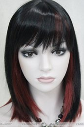 Wigs Mixed Black Burgundy Australia - LL Free Shipping>>> Hivision Black Burgundy Mixed Mt Women ladies Daily Wig FTLD126