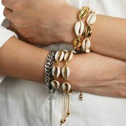 titanium bracelets Australia - 10 Style Gold Silver Color Cowrie Shell Bracelets For Women Bohemian Natural Shell CharmBracelet Fashion Summer Beach Jewelry