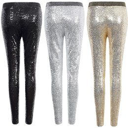 a5acc2ddb1c8c Sexy Shiny Sequin Leggings Women Female Fashion Skinny Stretch Slim Paillette  Pencil Pants Hot party hose Elasticity Legging Y190603