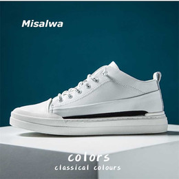 korean male shoes NZ - Misalwa Leather Men's Shoes Korean White Shoes Spring Summer Casual Sneakers New Men's Trendy High Top Male Loafers