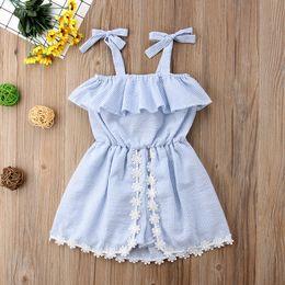 $enCountryForm.capitalKeyWord Australia - Summer Girls Striped Dress Skirt Sleeveless Lace Bowknot Flower Baby Romper Jumpsuit Pantskirt Kids Princess Dress 80-120CM A52202
