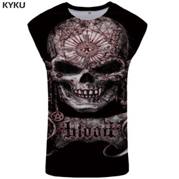 gothic clothing brands UK - Happiness Plum Brand Skull Tank Top Men Rock Mens Bodybuilding Punk Singlet Hip Hop Ftness Clothing Gothic Tanktop Vest Sleeveless Shirt