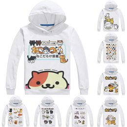 color collector NZ - Anime Hoodies Neko Atsume Kitty Collector 3D Hoodies Multi-style Long Sleeve Hooded Cat Collection Cosplay Sweatshirts