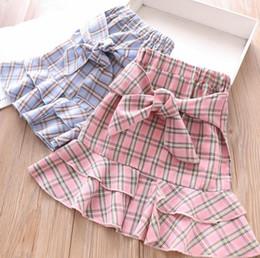 e3365605ae 2019 Verano nuevos niños faldas a cuadros niñas con cordones Arcos enrejado  princesa faldas niños elásticos falbala doble falda azul rosa F5207