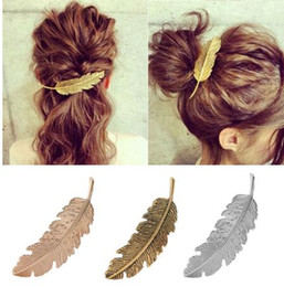 Hair Feathers Tools Australia - Fashion Metal Leaf Shape Hair Clip Barrettes Crystal Pearl Hairpin Barrette Color Feather Hair Claws Hair Styling Tool