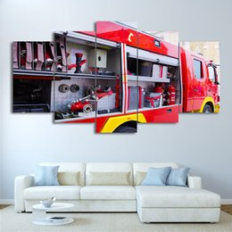 canvas prints free shipping NZ - 5 Panel HD Printed Canvas Art Fire Truck Painting Fire Tools Wall Pictures Decoration Modular Painting Free Shipping