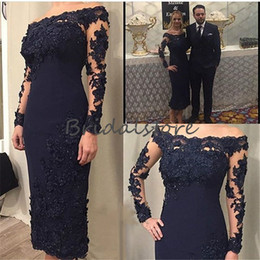 sexy navy outfit 2019 - sexy navy blue lace short mother of bride dresses classy boat neck applique lace tight outfit formal prom evening gowns