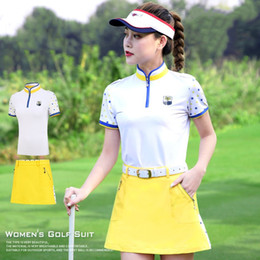 full golf sets NZ - Golf Womens Tshirt Team Uniform Golf Clothes Short Sleeve Shirt Lady Skirt Set Tennis Skort Outdoor Sports Suit Apparel