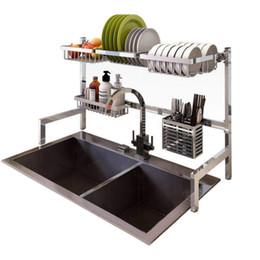 Stainless Steel Kitchen Storage Sink Drying Rack Household Storage Holder Dish Rack Tableware Shelf Organizer Kitchen Tools on Sale