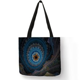 3de7faac13e1 High Quality Washable Eco Linen Tote Bag For Women Men Fantasy Mysterious Paisley  Pattern Shoulder Bags Students School Handbag