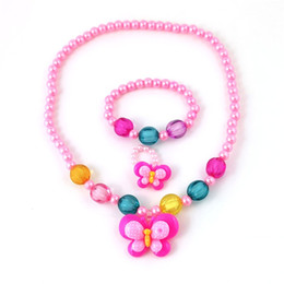 $enCountryForm.capitalKeyWord Australia - Butterfly Jewelry 3pcs Necklace Bracelet Ring Sets For Kids Fashion Cute Beads Creative Gifts Handmade Trial Order 2lz M1 E1