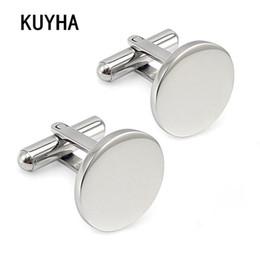 $enCountryForm.capitalKeyWord Australia - Men Metal Engrave Logo Custom Stainless Steel Round Cufflinks Blanks Silver Personalized Plain Cuff links Button Gemelos