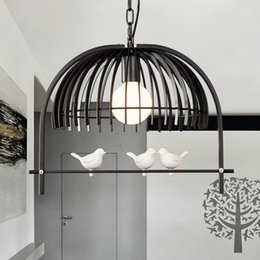white bird pendant lamp NZ - Bedroom dining room cafe restaurant bar corridor pendant lamp American country bird cage Chandelier MYY
