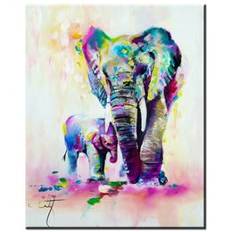 elephant canvas oil paintings abstract Australia - Oil Painting On Canvas Art Colorful Elephant Mother Son Animal Canvas Pictures Oil Art Painting For Home Wall 191006