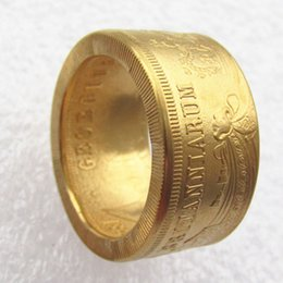 uk wedding rings NZ - UK 5 Pounds '1826' Gold Plated Ring Handmade In Sizes 8-16