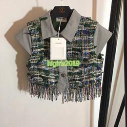 $enCountryForm.capitalKeyWord Australia - high end women girls tweed t-shirt patchwork weave tassel blouse short sleeves tee shirt sweatshirt top quality fashion design luxury top