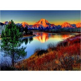 SunSet lake painting online shopping - Alpine Sunset Lake Reflec Scenery DIY Digital Painting By Numbers Modern Wall Art Canvas Painting Unique Gift Home Decor x50cm
