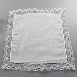 Wholesale 25cm White Lace Thin Handkerchief 100% Cotton Towel Woman Wedding Gift Party Decoration Cloth Napkin DIY Plain Blank Handkerchief DBC BH2669