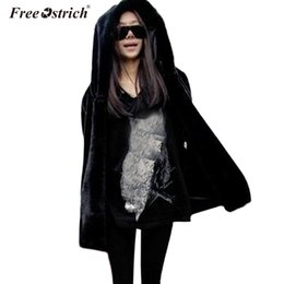 $enCountryForm.capitalKeyWord NZ - Free Ostrich Faux Fur Coat With Hood High Waist Fashion thick warm Loose Black Faux Fur Jacket long Sleeve Winter Women N30