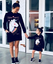 girl skirt mother NZ - European American New Unicorn Parent-Child Outfit Printing Long-Sleeved Hooded Parent-Child Dress Skirt Suit Family Pack Sets Discount