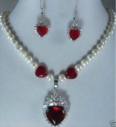 $enCountryForm.capitalKeyWord Australia - Prett Lovely Women's Wedding red heart crystal pendant pearl Necklace earrings women's jewelry Set>GP Bridal brincos