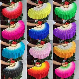 silk r NZ - 1pair (L+R) Chinese Real Silk Bamboo Ribs Fan Veils nice Belly Dancing silk short Fans Stage Performance Fans Props 12 colors
