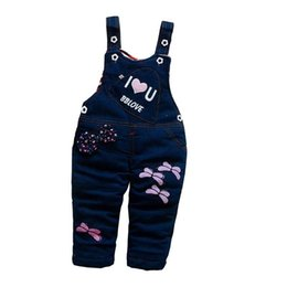 44bed2cda10 good quality Baby Girl Winter Pants Denim Bib Pants For Girl Thick Denim  Cartoon Trousers Kids Warm Overalls Infant Tracksuit Pants