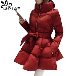 skirted waist coat Australia - UHYTGF New Arrival Down Jacket Warm Coat Jacket Parkas For Women Winter Women Down Parka Bow Waist Fluffy Skirt Style Coat 979