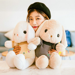 Stuffed Animal Holds Toys NZ - Long Ear Lop Sweater Bunny Baby Toys Stuffed Animal Pillow Cute soft Sleeping Holding Rabbit Doll Gift Toys for Children