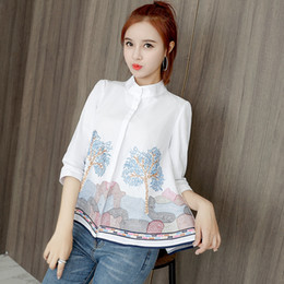 Wholesale embroidered female shirts for sale – plus size QoerliN S XL Embroidered Blouse White Women Floral Shirt Sleeve Plus Size Single Breasted Tops Female Elegant Shirts
